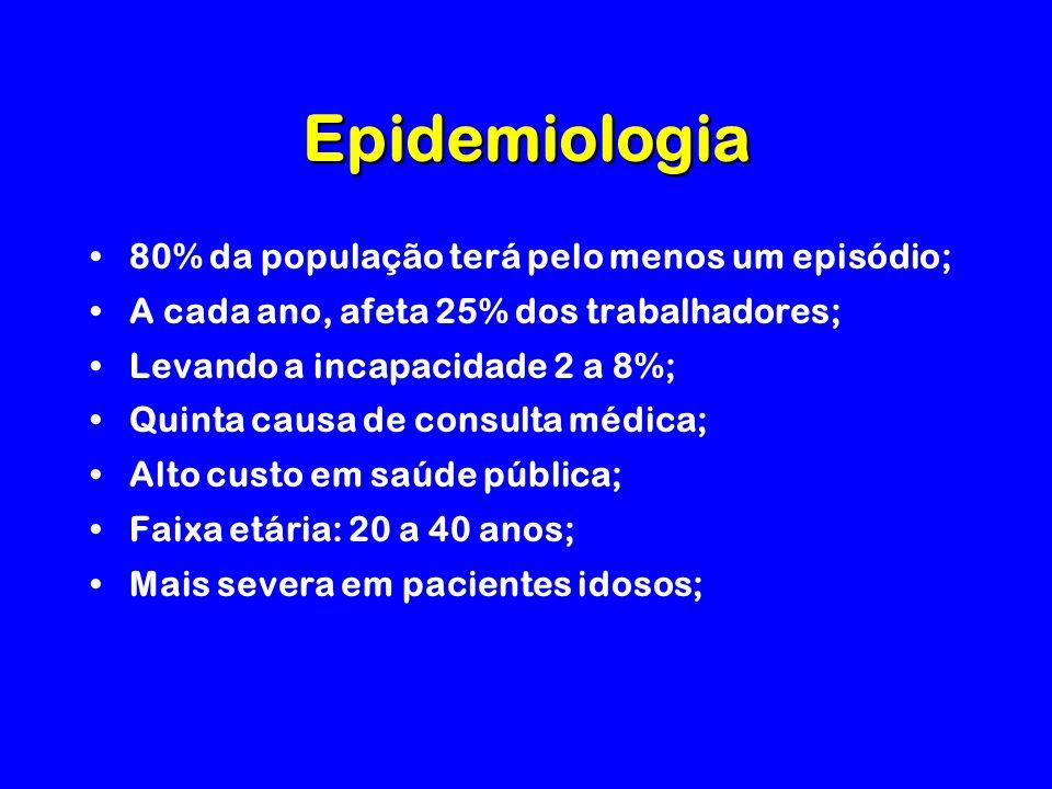 Epidemiologia 80% da população terá pelo menos um episódio;