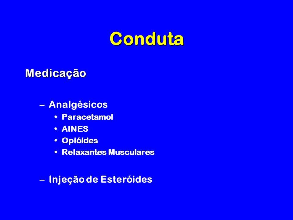 Conduta Medicação Analgésicos Injeção de Esteróides Paracetamol AINES