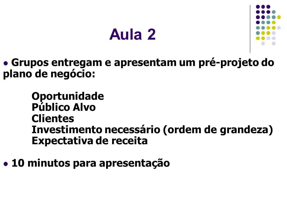 Aula 2Grupos entregam e apresentam um pré-projeto do plano de negócio: Oportunidade. Público Alvo. Clientes.