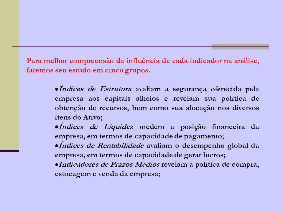 Para melhor compreensão da influência de cada indicador na análise, faremos seu estudo em cinco grupos.