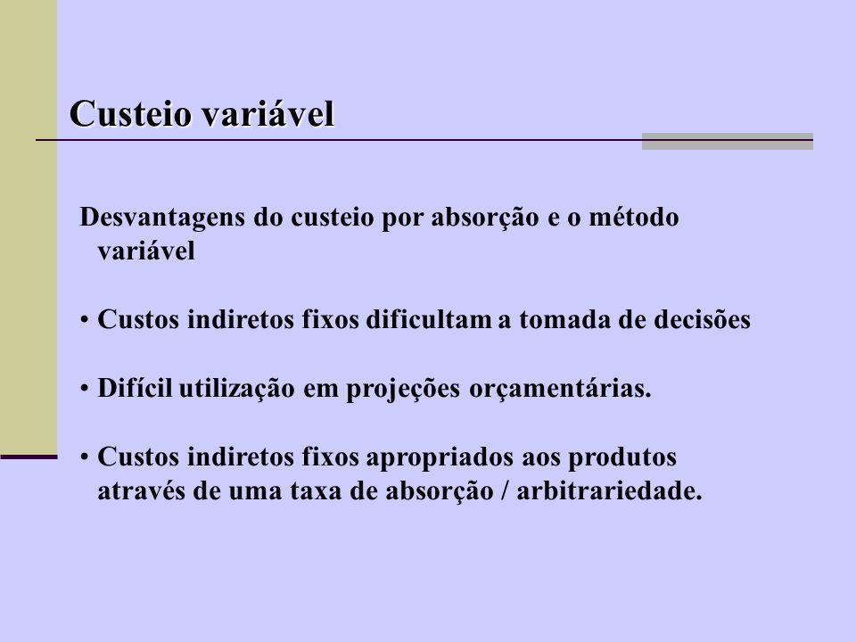 Custeio variável Desvantagens do custeio por absorção e o método variável. Custos indiretos fixos dificultam a tomada de decisões.