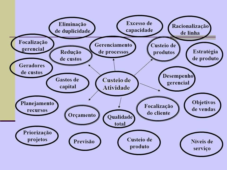 Custeio de Atividade Gerenciamento de processos Excesso de capacidade