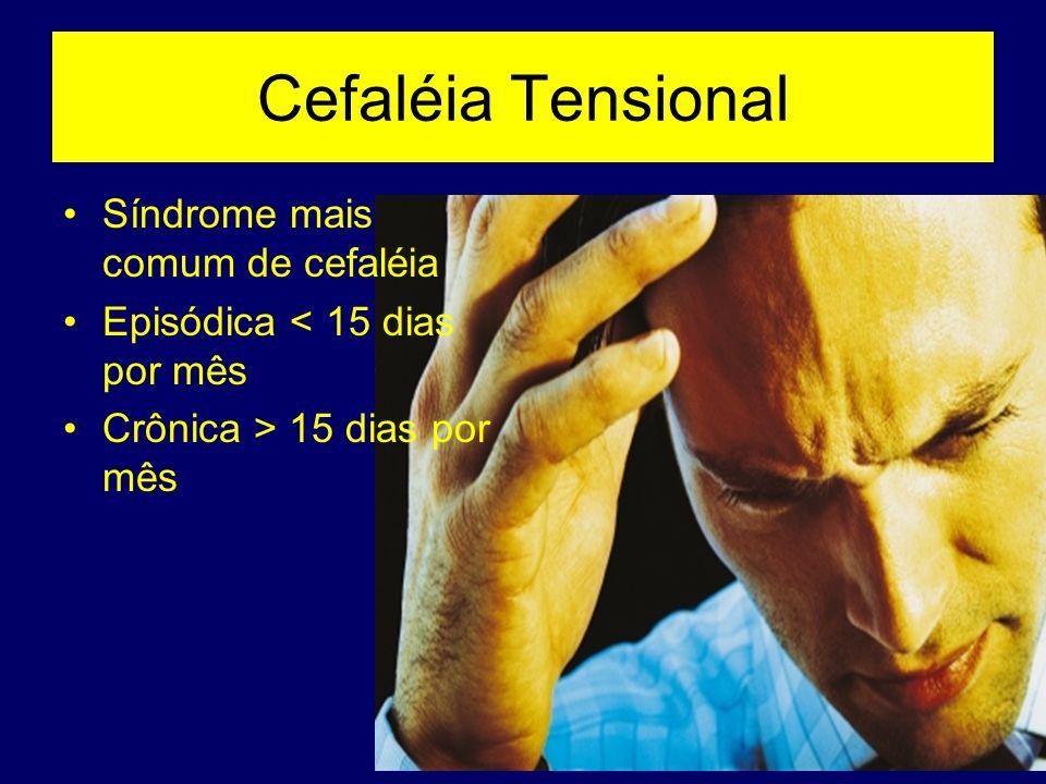 Cefaléia Tensional Síndrome mais comum de cefaléia