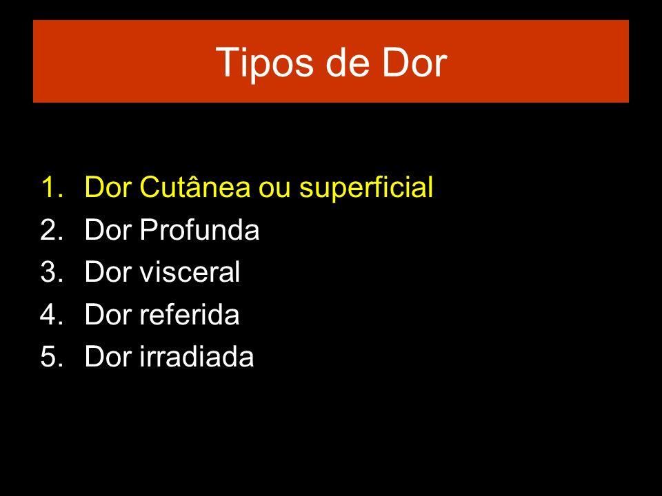 Tipos de Dor Dor Cutânea ou superficial Dor Profunda Dor visceral