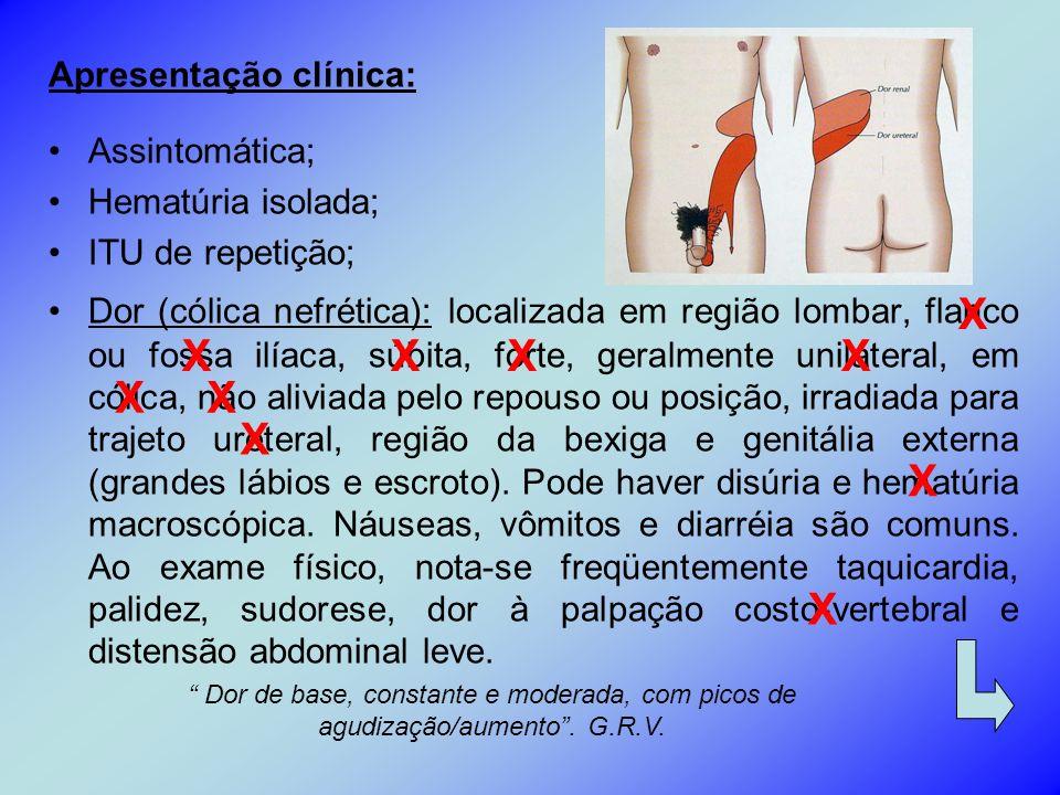 X X X X X X X X X X Apresentação clínica: Assintomática;