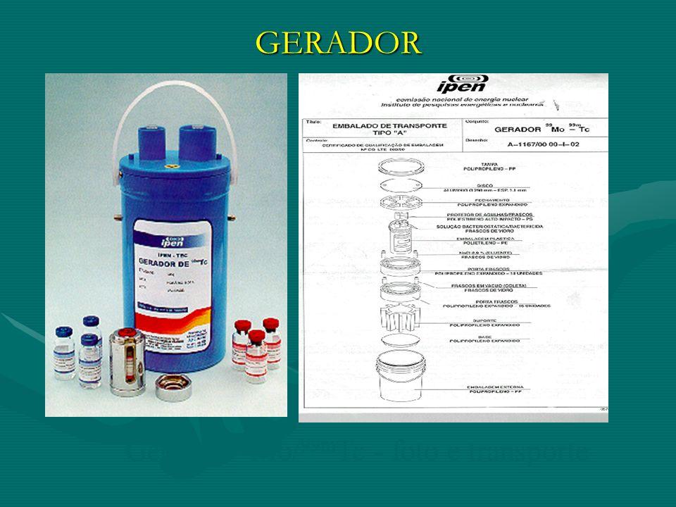 GERADOR Gerador 99Mo/99mTc - foto e transporte