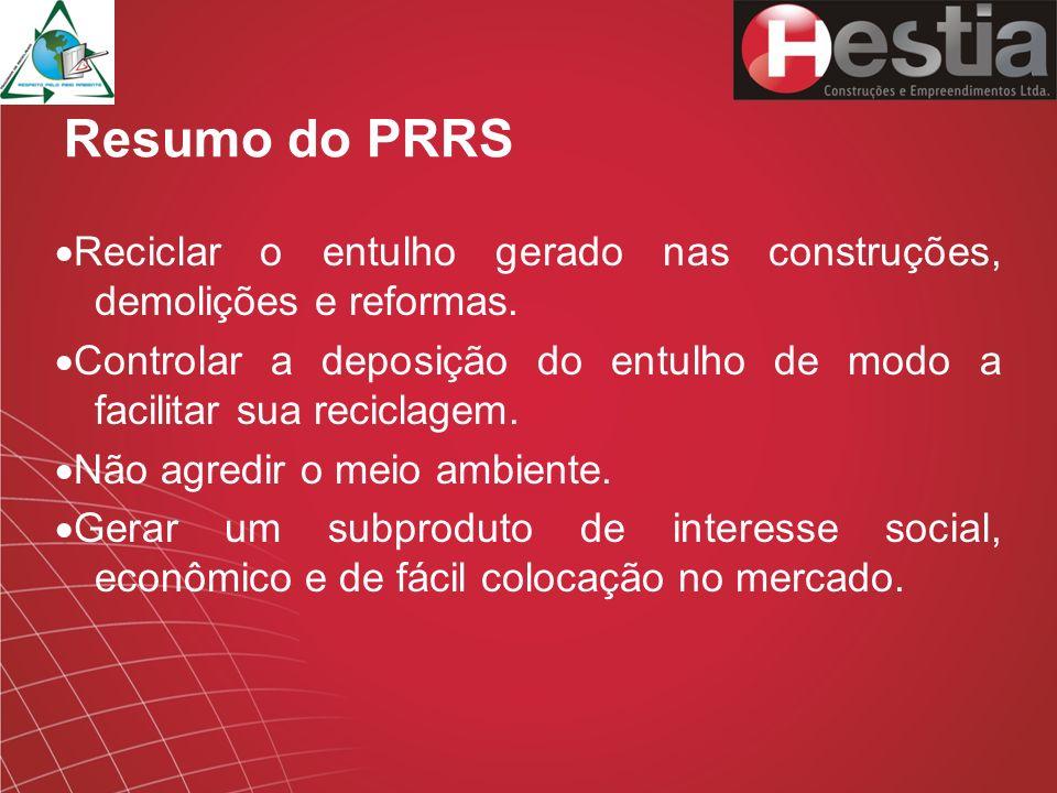 Resumo do PRRS ·Reciclar o entulho gerado nas construções, demolições e reformas.