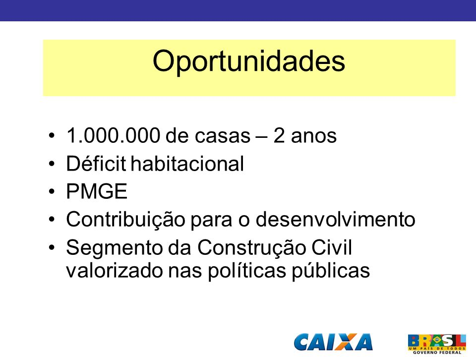 Oportunidades 1.000.000 de casas – 2 anos Déficit habitacional PMGE
