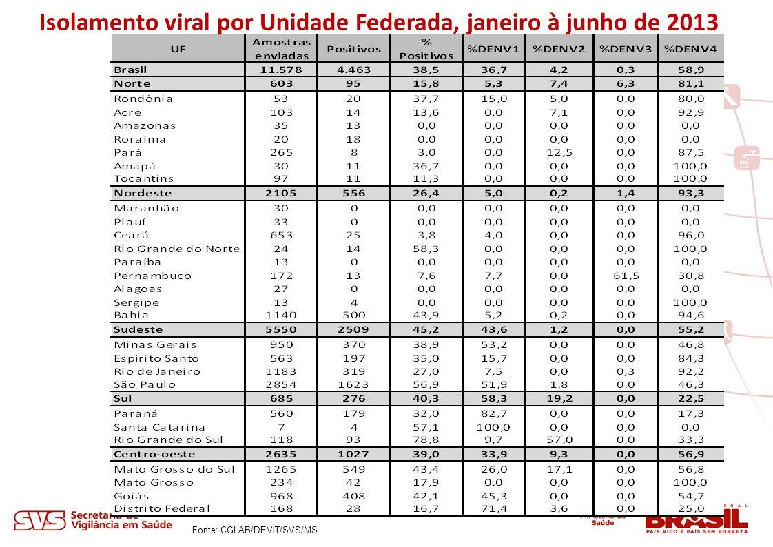Isolamento viral por Unidade Federada, janeiro à junho de 2013