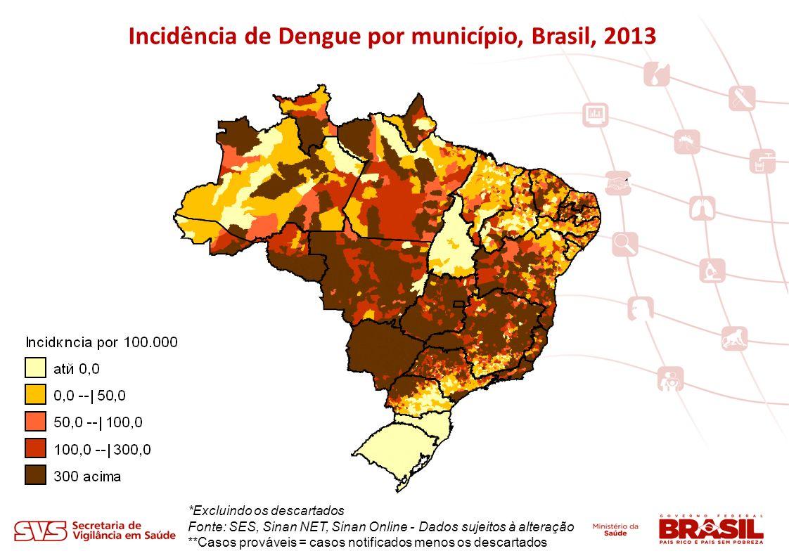 Incidência de Dengue por município, Brasil, 2013