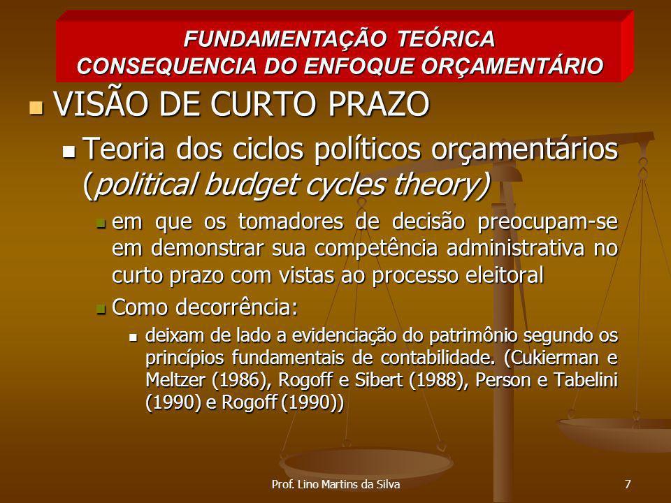 FUNDAMENTAÇÃO TEÓRICA CONSEQUENCIA DO ENFOQUE ORÇAMENTÁRIO