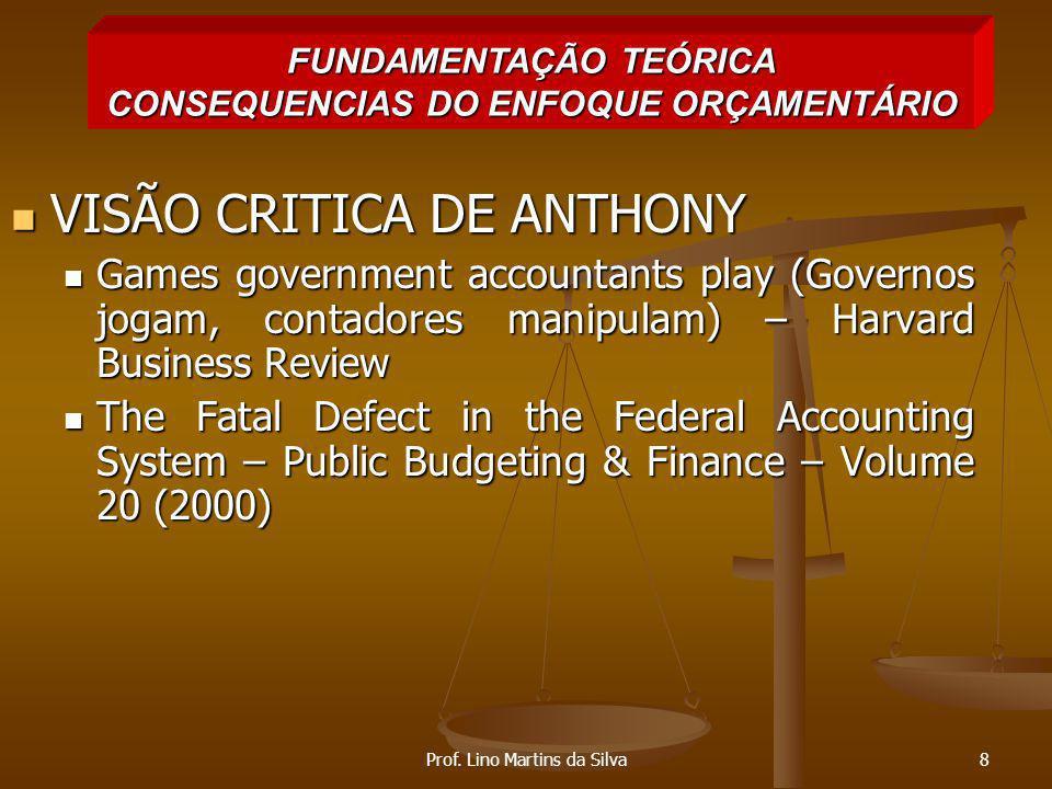 FUNDAMENTAÇÃO TEÓRICA CONSEQUENCIAS DO ENFOQUE ORÇAMENTÁRIO
