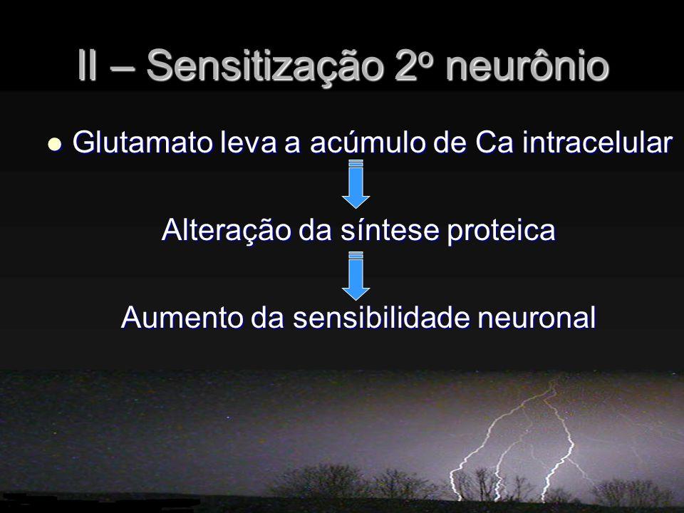II – Sensitização 2o neurônio