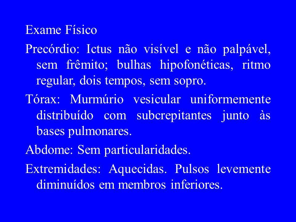 Exame FísicoPrecórdio: Ictus não visível e não palpável, sem frêmito; bulhas hipofonéticas, ritmo regular, dois tempos, sem sopro.