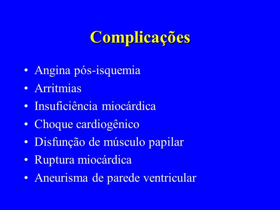 Complicações Angina pós-isquemia Arritmias Insuficiência miocárdica
