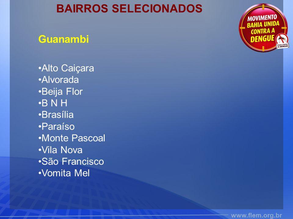 BAIRROS SELECIONADOS Guanambi Alto Caiçara Alvorada Beija Flor B N H