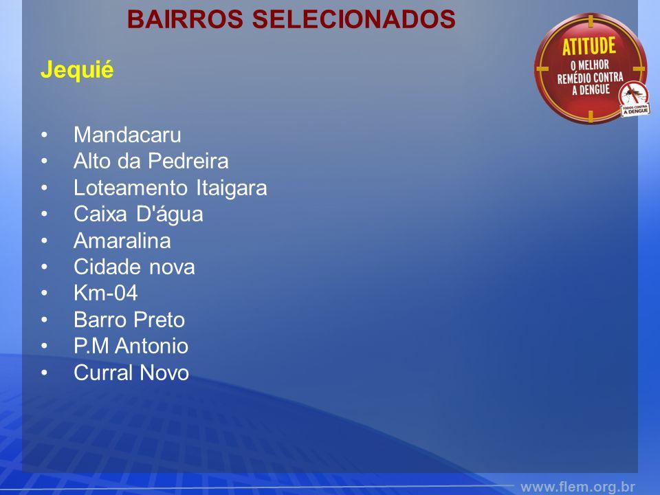 BAIRROS SELECIONADOS Jequié Mandacaru Alto da Pedreira