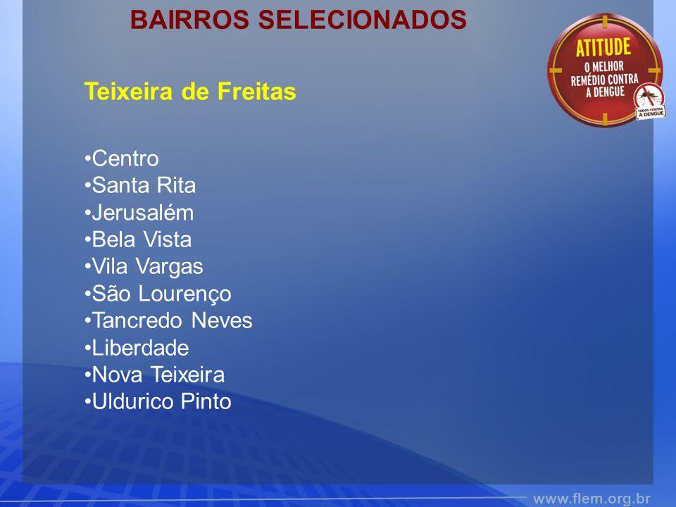 BAIRROS SELECIONADOS Teixeira de Freitas Centro Santa Rita Jerusalém