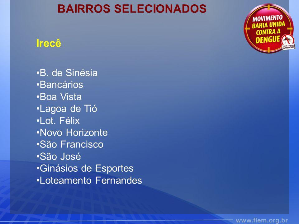 BAIRROS SELECIONADOS Irecê B. de Sinésia Bancários Boa Vista