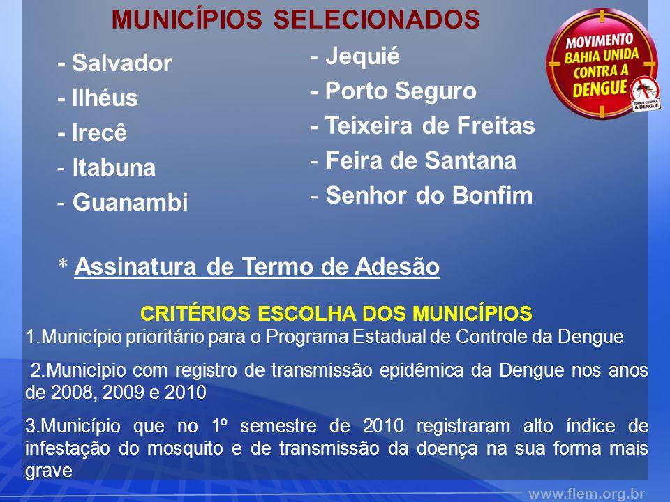 MUNICÍPIOS SELECIONADOS CRITÉRIOS ESCOLHA DOS MUNICÍPIOS