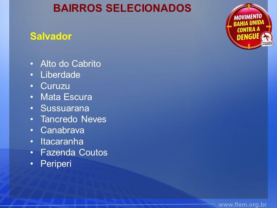 BAIRROS SELECIONADOS Salvador Alto do Cabrito Liberdade Curuzu