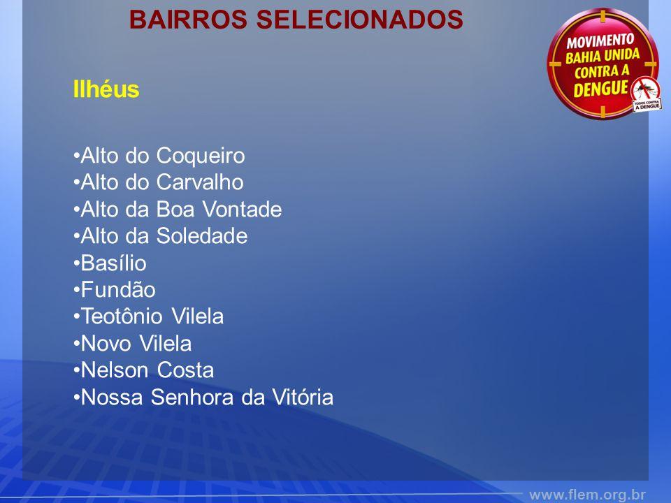 BAIRROS SELECIONADOS Ilhéus Alto do Coqueiro Alto do Carvalho