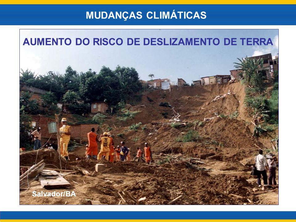 AUMENTO DO RISCO DE DESLIZAMENTO DE TERRA
