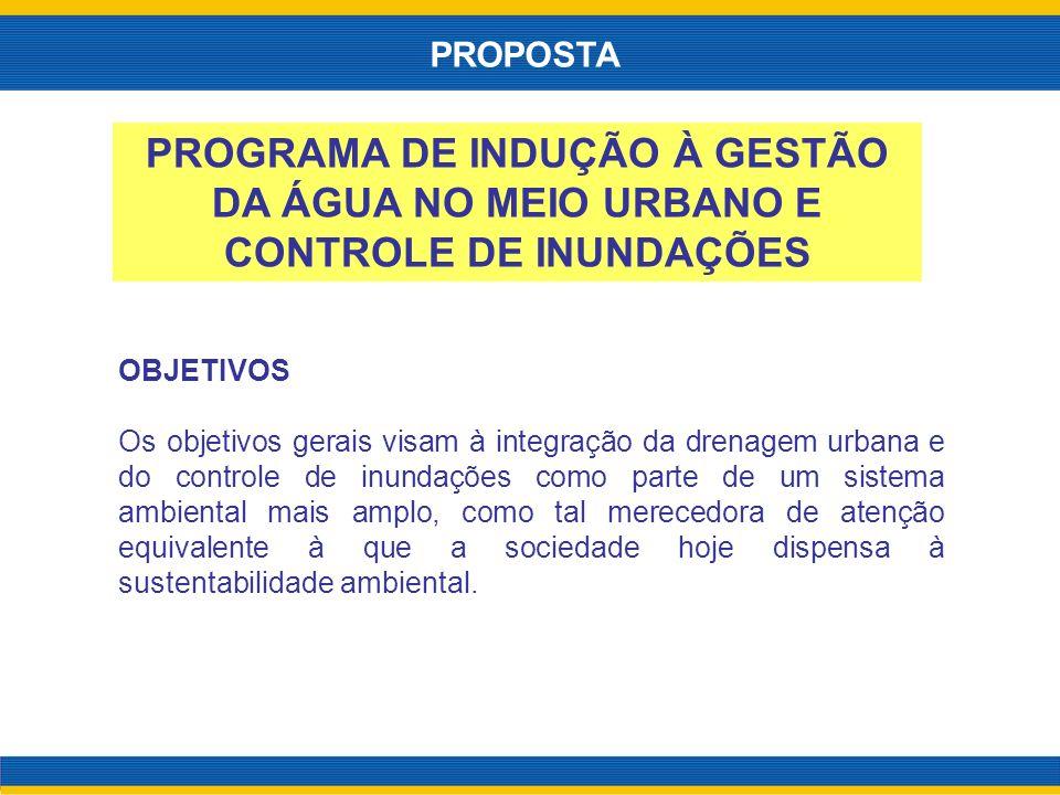 PROPOSTA PROGRAMA DE INDUÇÃO À GESTÃO DA ÁGUA NO MEIO URBANO E CONTROLE DE INUNDAÇÕES. OBJETIVOS.