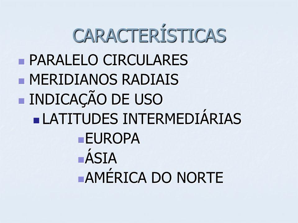 CARACTERÍSTICAS PARALELO CIRCULARES MERIDIANOS RADIAIS