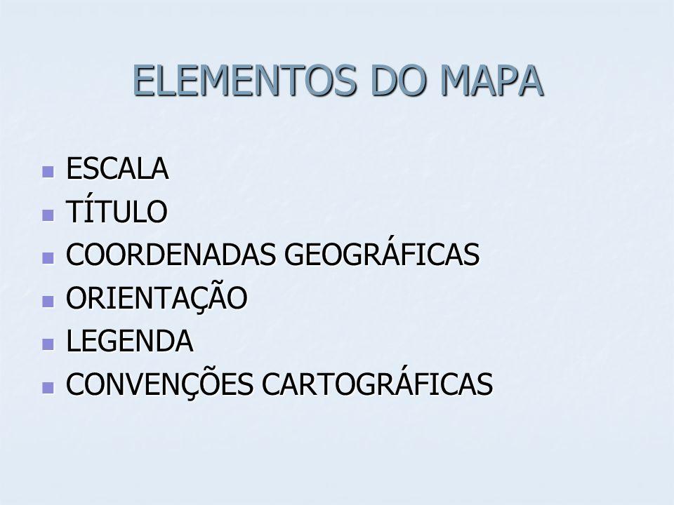 ELEMENTOS DO MAPA ESCALA TÍTULO COORDENADAS GEOGRÁFICAS ORIENTAÇÃO