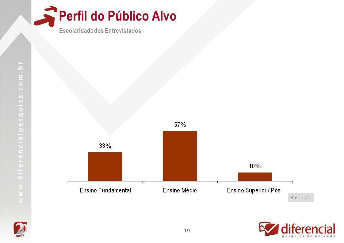 Perfil do Público Alvo Escolaridade dos Entrevistados Base: 21