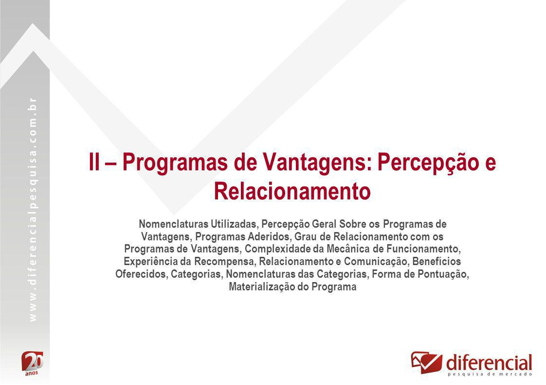 II – Programas de Vantagens: Percepção e Relacionamento