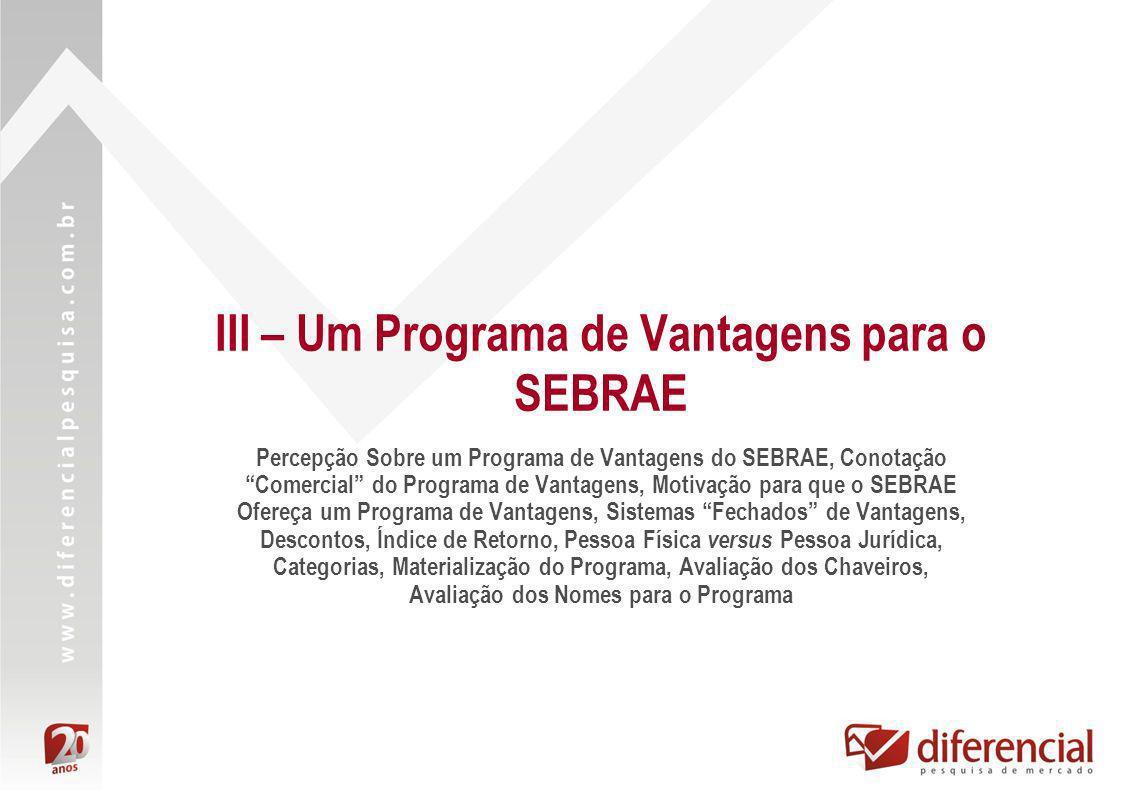 III – Um Programa de Vantagens para o SEBRAE