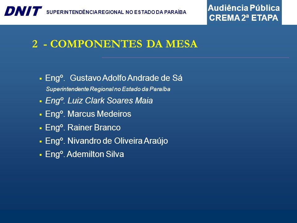 2 - COMPONENTES DA MESA Engº. Gustavo Adolfo Andrade de Sá