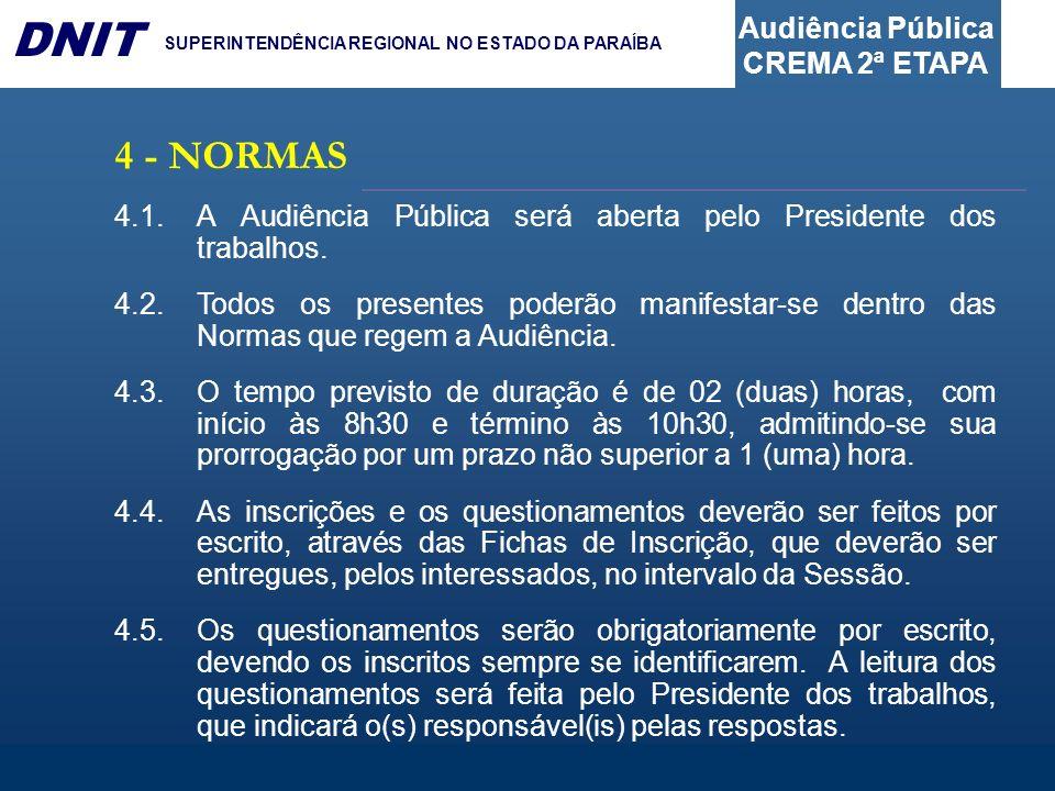 4 - NORMAS4.1. A Audiência Pública será aberta pelo Presidente dos trabalhos.