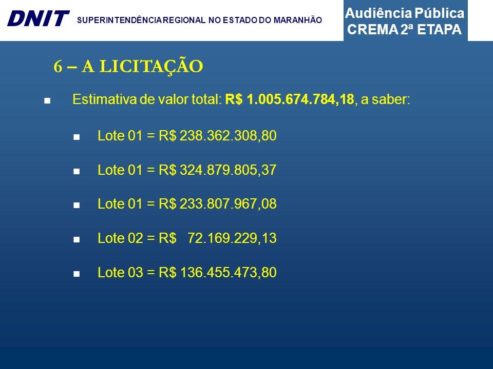 6 – A LICITAÇÃO Estimativa de valor total: R$ 1.005.674.784,18, a saber: Lote 01 = R$ 238.362.308,80.
