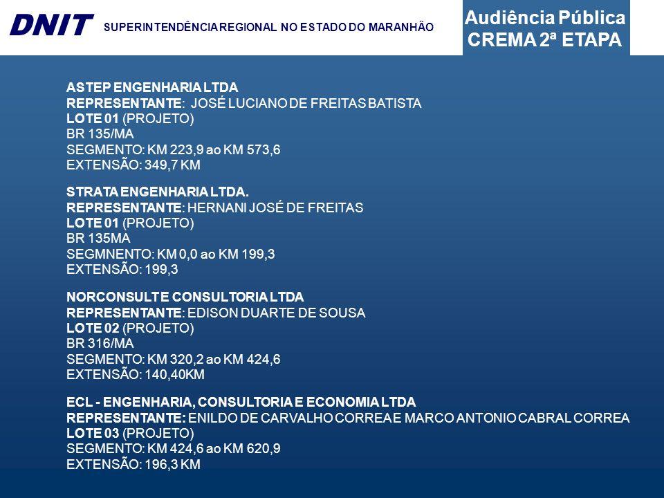 ASTEP ENGENHARIA LTDA REPRESENTANTE: JOSÉ LUCIANO DE FREITAS BATISTA. LOTE 01 (PROJETO) BR 135/MA.