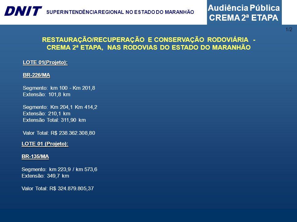 1/2 RESTAURAÇÃO/RECUPERAÇÃO E CONSERVAÇÃO RODOVIÁRIA - CREMA 2ª ETAPA, NAS RODOVIAS DO ESTADO DO MARANHÃO.