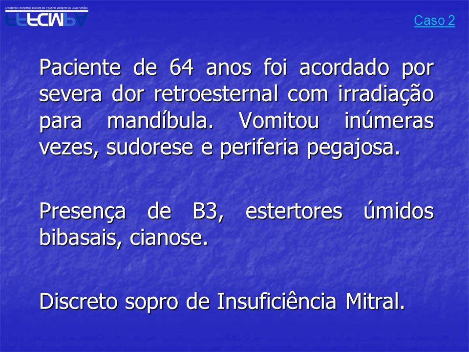 Presença de B3, estertores úmidos bibasais, cianose.