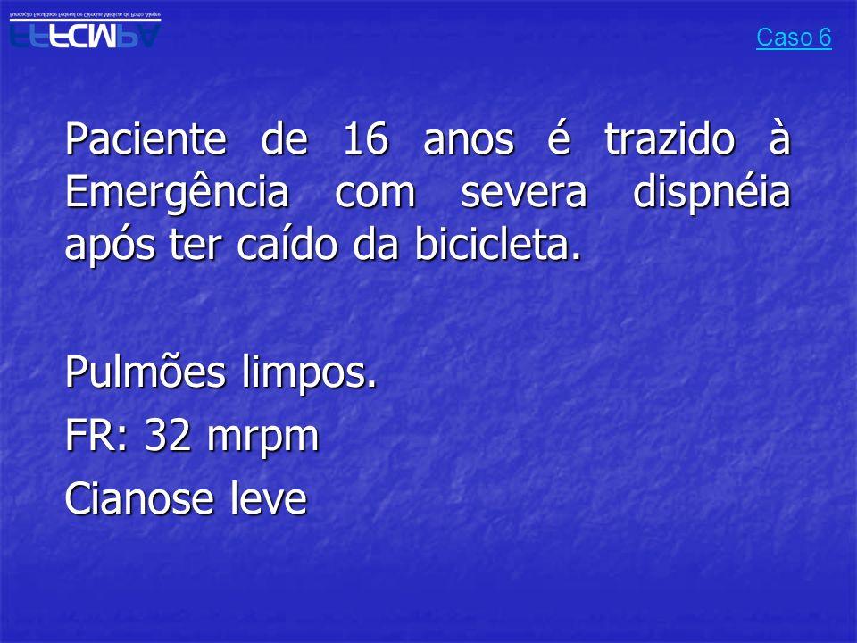 Pulmões limpos. FR: 32 mrpm Cianose leve
