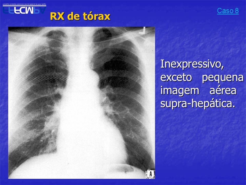 Inexpressivo, exceto pequena imagem aérea supra-hepática.
