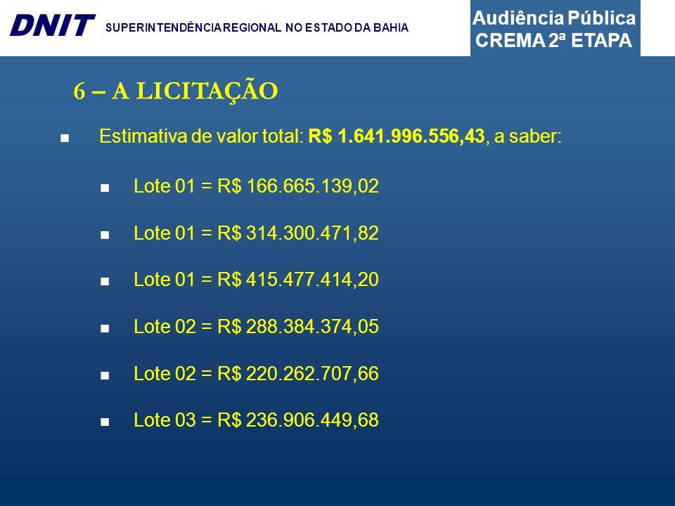6 – A LICITAÇÃO Estimativa de valor total: R$ 1.641.996.556,43, a saber: Lote 01 = R$ 166.665.139,02.
