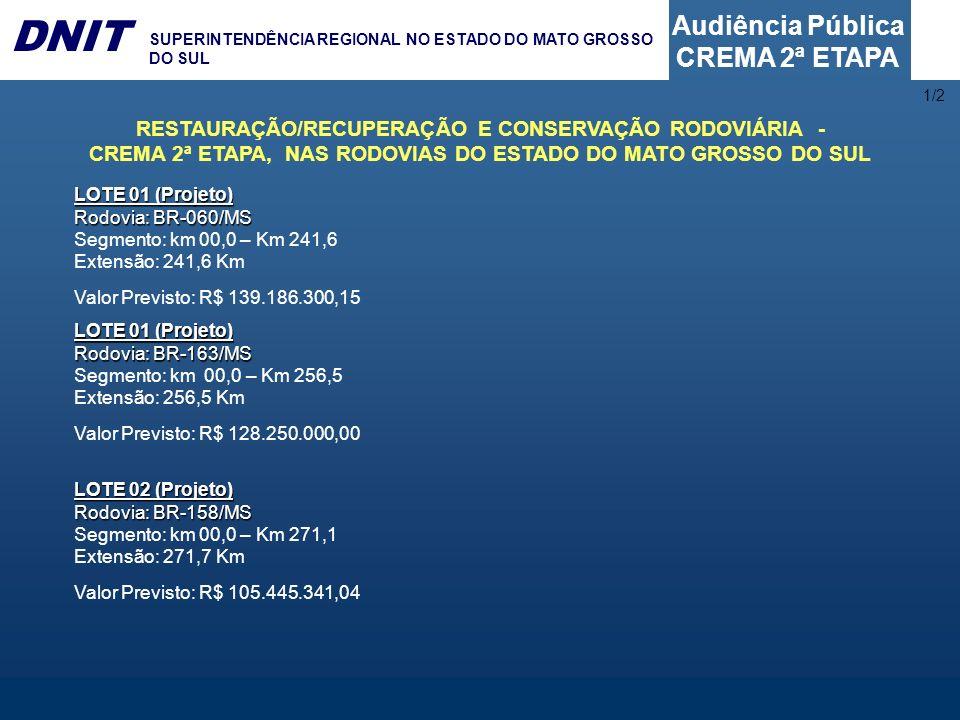 1/2 RESTAURAÇÃO/RECUPERAÇÃO E CONSERVAÇÃO RODOVIÁRIA - CREMA 2ª ETAPA, NAS RODOVIAS DO ESTADO DO MATO GROSSO DO SUL.