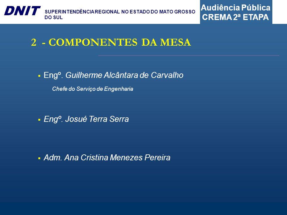 2 - COMPONENTES DA MESA Engº. Guilherme Alcântara de Carvalho Chefe do Serviço de Engenharia.