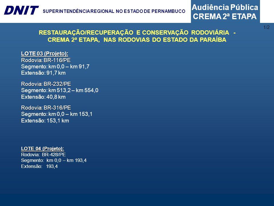 1/2RESTAURAÇÃO/RECUPERAÇÃO E CONSERVAÇÃO RODOVIÁRIA - CREMA 2ª ETAPA, NAS RODOVIAS DO ESTADO DA PARAÍBA.