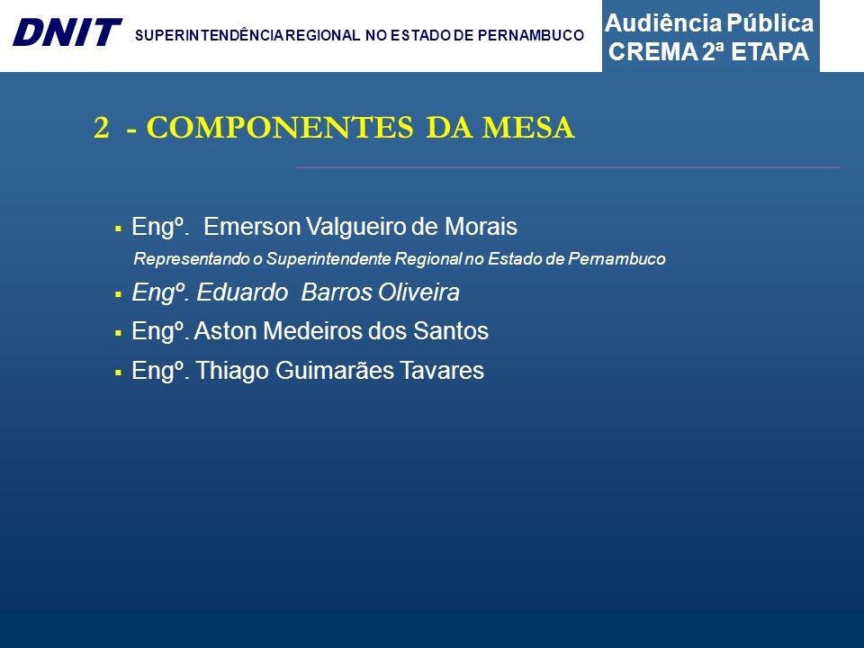 2 - COMPONENTES DA MESA Engº. Emerson Valgueiro de Morais