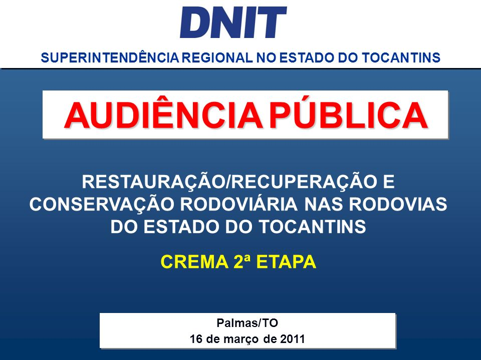 SUPERINTENDÊNCIA REGIONAL NO ESTADO DO TOCANTINS