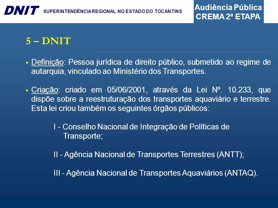 5 – DNITDefinição: Pessoa jurídica de direito público, submetido ao regime de autarquia, vinculado ao Ministério dos Transportes.