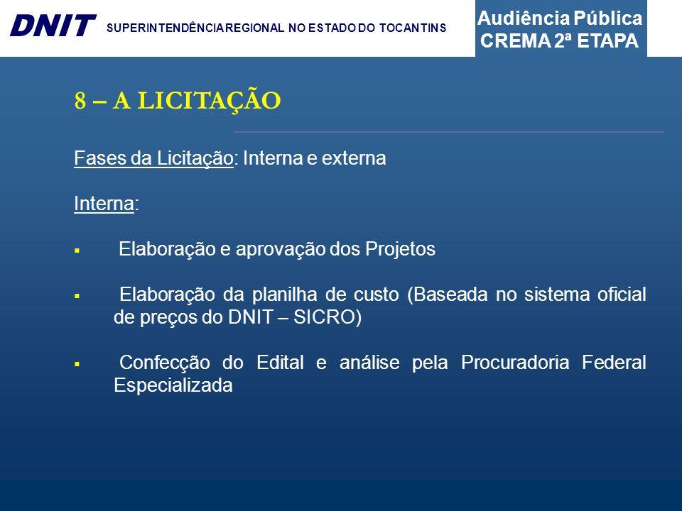 8 – A LICITAÇÃO Fases da Licitação: Interna e externa Interna: