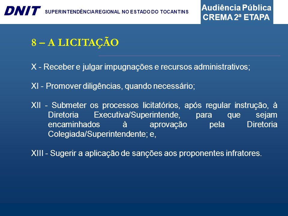 8 – A LICITAÇÃOX - Receber e julgar impugnações e recursos administrativos; XI - Promover diligências, quando necessário;